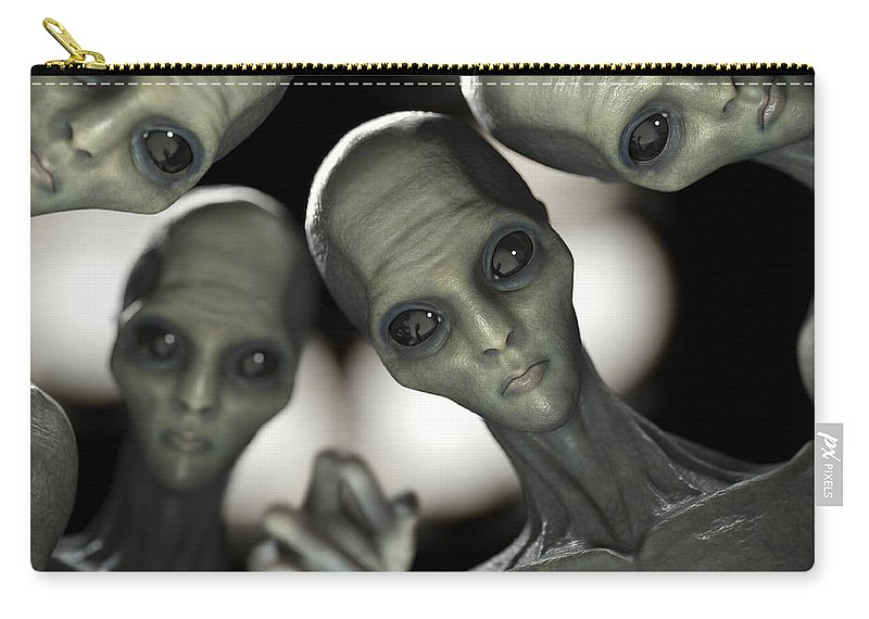 Group Of Aliens Carry-all Pouch featuring the photograph Alien Abduction by Science Picture Co