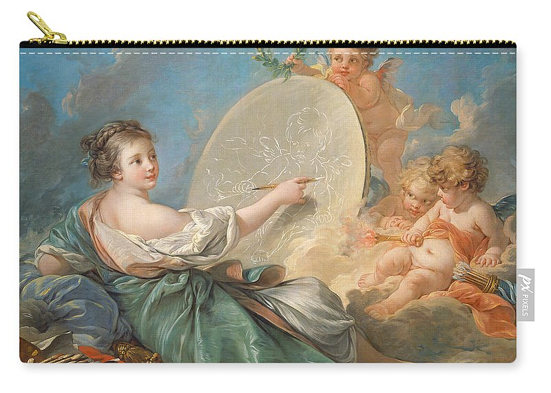 Allegory; Painting; Personification; Allegorical; Putto; Putti; Drawing; Picture; Painting; Artist; Painter; Reclining; Artist's; Tools; Paintbrush; Brushes; Palette; Canvas; Cloud; Clouds; Heavenly; Idyllic; Utopia; Utopian; Rococo; Francois; Boucher; Heaven; Heavenly; Heavens; Cherub; Cherubs; Angels; Angelic; Angel; Sky; Light; Oil; Color; Colour; Illustration; Female; Woman; Children; Girl; Delicate; Women; Cloud; Clouds; Proverb; Proverbs; Zodiac; Astrology; Zodiac Sign; Angel; Painter; Carry-all Pouch featuring the painting Allegory Of Painting by Francois Boucher