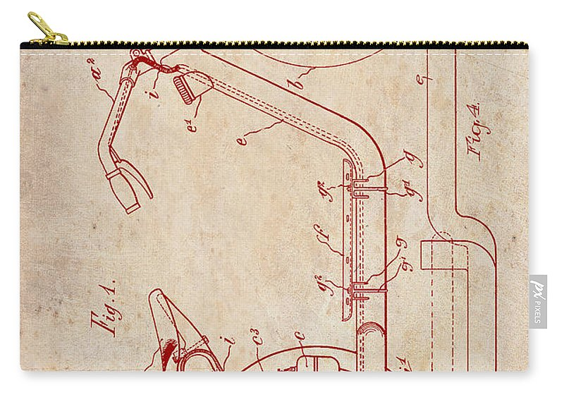Patent Carry-all Pouch featuring the drawing Antique Motorcycle Patent 1921 by Mountain Dreams