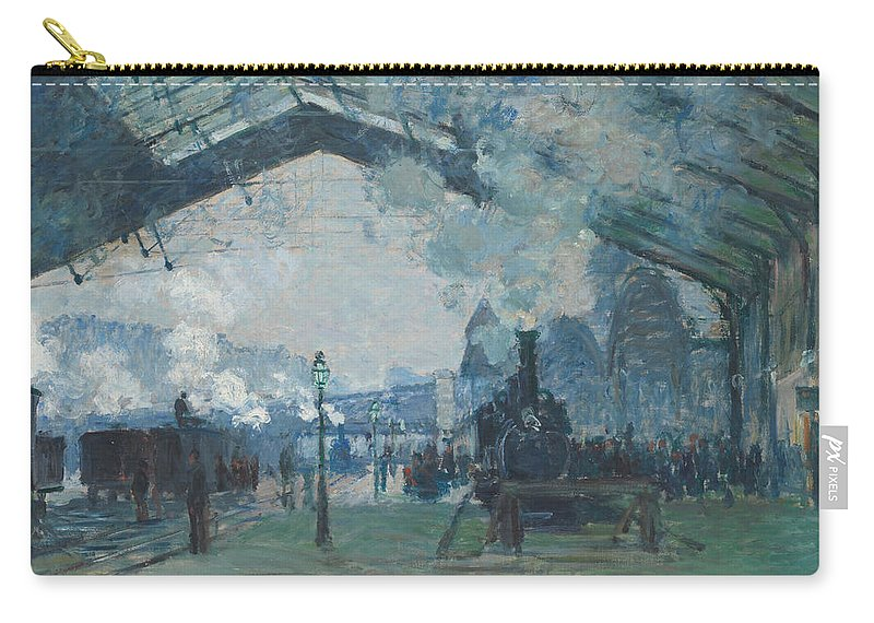 Claude Monet Carry-all Pouch featuring the painting Arrival Of The Normandy Train by Claude Monet