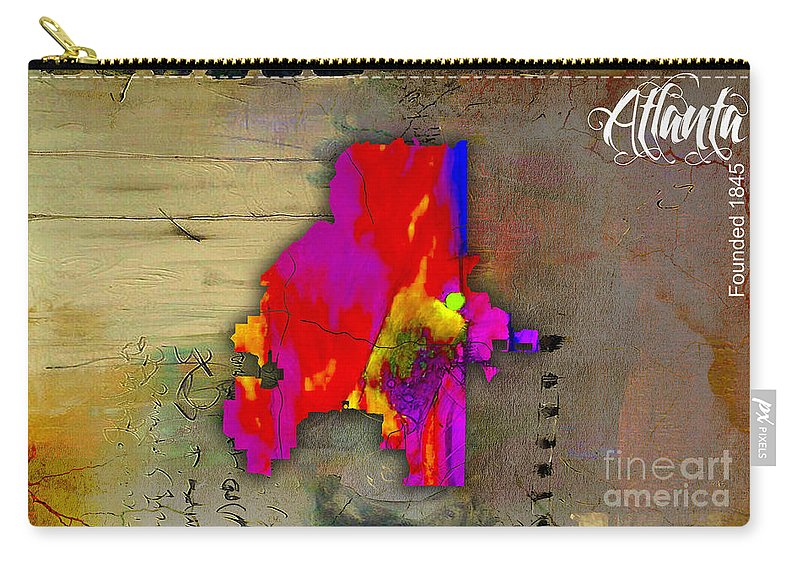 Atlanta Art Carry-all Pouch featuring the mixed media Atlanta Map Watercolor by Marvin Blaine