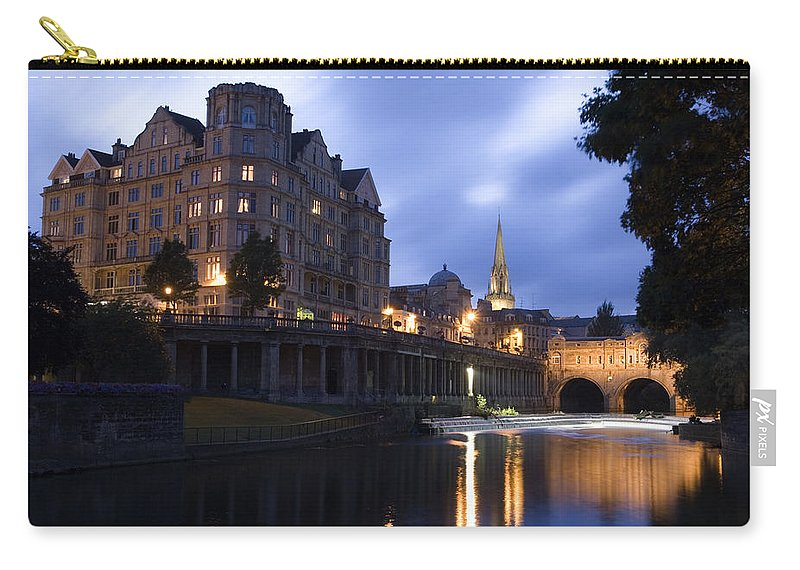 Bath Carry-all Pouch featuring the photograph Bath City Spa Viewed Over The River Avon At Night by Mal Bray