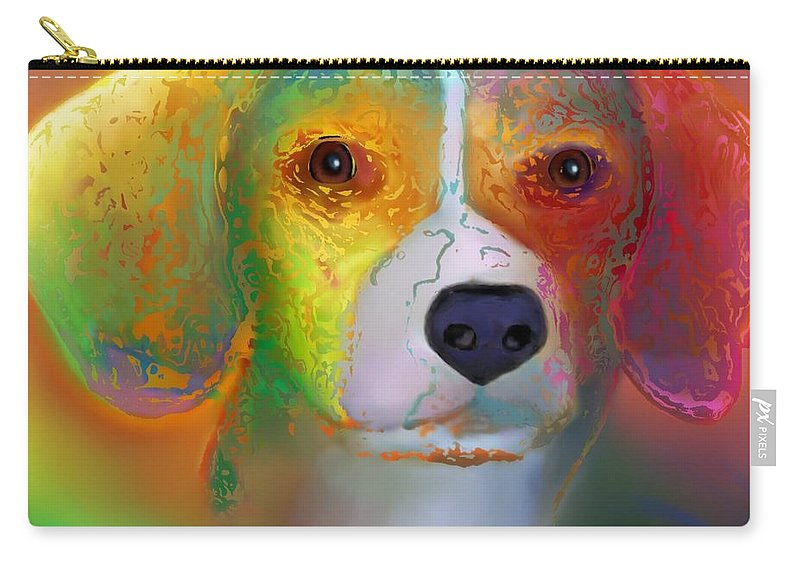 Red Background Carry-all Pouch featuring the digital art Beagle by Marlene Watson