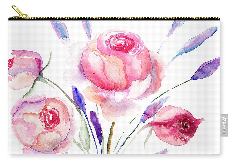 Backdrop Carry-all Pouch featuring the painting Beautiful Roses Flowers by Regina Jershova