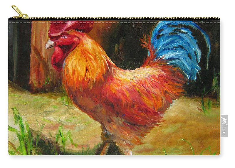 Bird Carry-all Pouch featuring the painting Blue-tailed Rooster by Diane Kraudelt