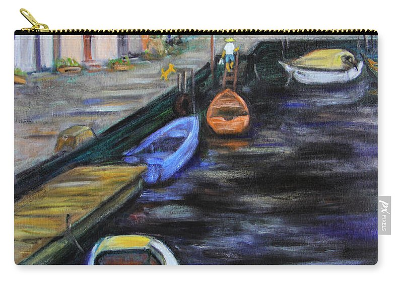 Village Carry-all Pouch featuring the painting Boats In Front Of The Buildings IIi by Xueling Zou