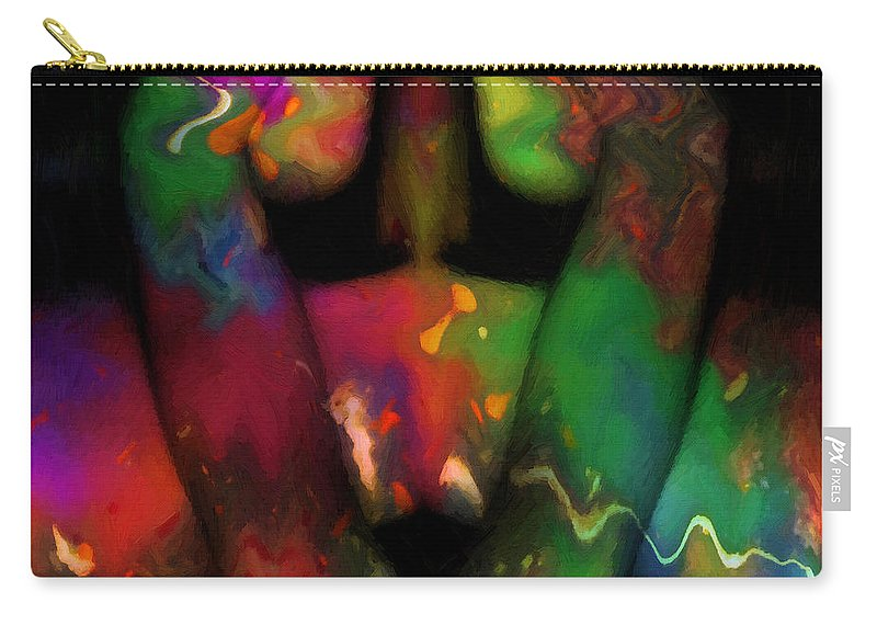 Abstract Body Color Colorful Expressionism Impressionism Painting Carry-all Pouch featuring the painting Bodypainting by Steve K