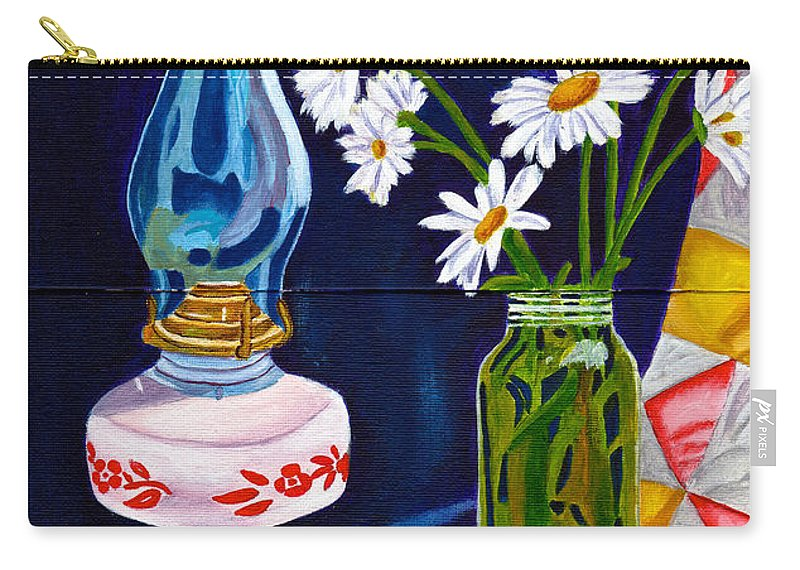 Lamp Carry-all Pouch featuring the painting 2 Books And A Lamp by Laura Forde