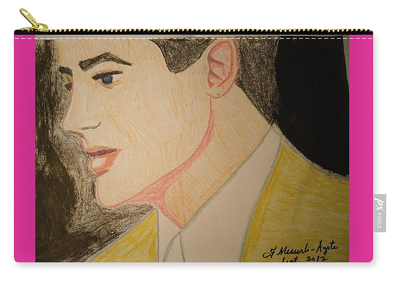 Beauty Carry-all Pouch featuring the painting Brendan Fraser by Fladelita Messerli-