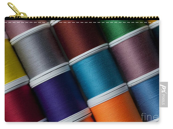 Abundance Carry-all Pouch featuring the photograph Bright Colored Spools Of Thread by Jim Corwin