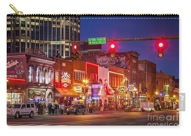 America Carry-all Pouch featuring the photograph Broadway Street Nashville by Brian Jannsen
