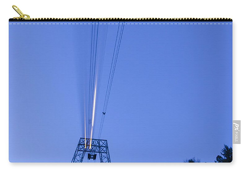 Cableway Carry-all Pouch featuring the photograph Cableway In Long Exposure by Mats Silvan