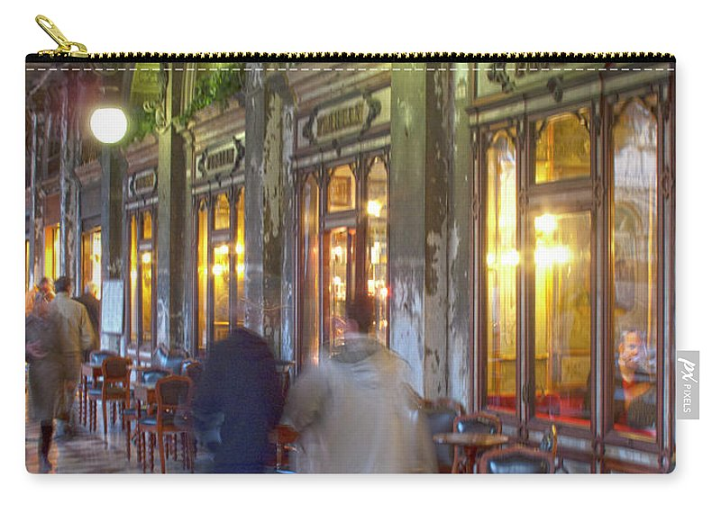 Venice Carry-all Pouch featuring the photograph Caffe Florian Arcade by Heiko Koehrer-Wagner