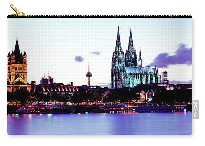 Panoramic Carry-all Pouch featuring the photograph Cathedral And Rhine River by Murat Taner