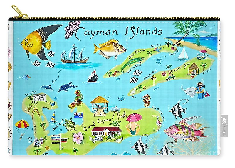 Cayman Islands Carry-all Pouch featuring the painting Cayman Islands by Virginia Ann Hemingson