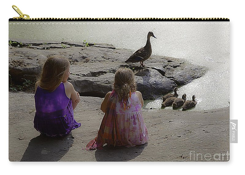 Children Carry-all Pouch featuring the photograph Children At The Pond 3 by Madeline Ellis