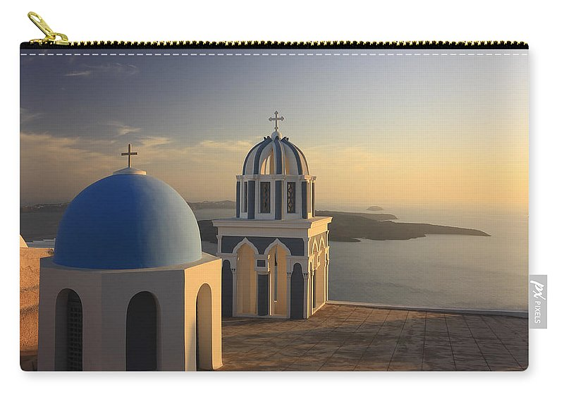 Aegean Carry-all Pouch featuring the photograph Churches At Sunset Firostefani Santorini Cyclades Greece by Ivan Pendjakov