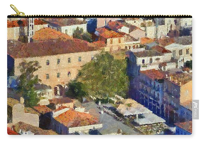 Nafplio; Old; City; Town; House; Houses; Color; Colour; Colorful; Colourful; Peloponnesus; Peloponnese; Argolis; Argolida; Greece; Greek; Hellas; Europe; European; Sea; Blue; Paint; Painting; Paintings Carry-all Pouch featuring the painting City Of Nafplio by George Atsametakis