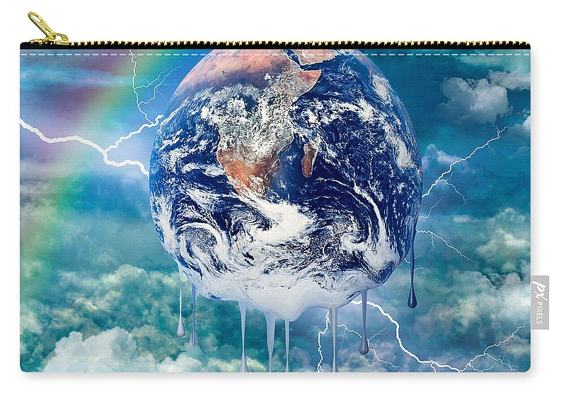 World Carry-all Pouch featuring the digital art Climate Change- by Robert Orinski
