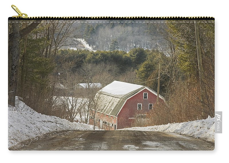 Maine Carry-all Pouch featuring the photograph Country Road And Barn In Winter Maine by Keith Webber Jr