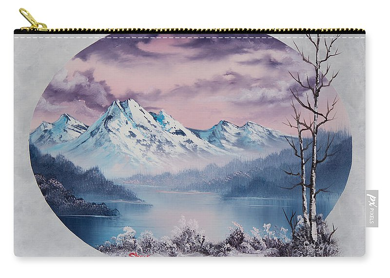 Landscape Carry-all Pouch featuring the painting Crimson Frost Oval by Chris Steele