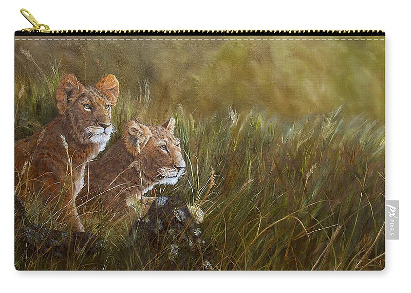 Lion Carry-all Pouch featuring the painting Curious Anticipation by Johanna Lerwick