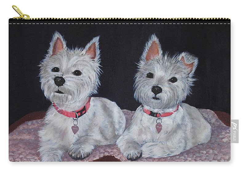 Pet Portrait Carry-all Pouch featuring the painting 2 Cute by Anastasiya Malakhova