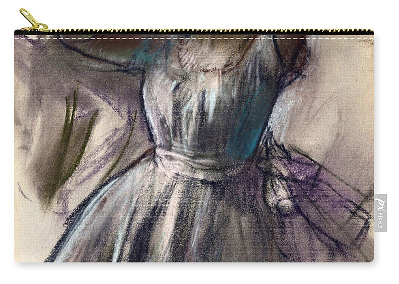 Edgar Degas Carry-all Pouch featuring the drawing Dancer Stretching by Edgar Degas