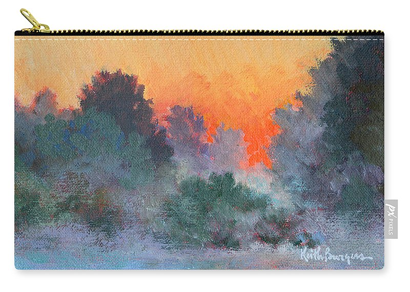 Impressionism Carry-all Pouch featuring the painting Dawn Mist by Keith Burgess