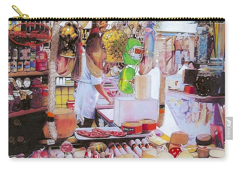 Food Carry-all Pouch featuring the mixed media Deli On The Via Condotti by Constance Drescher