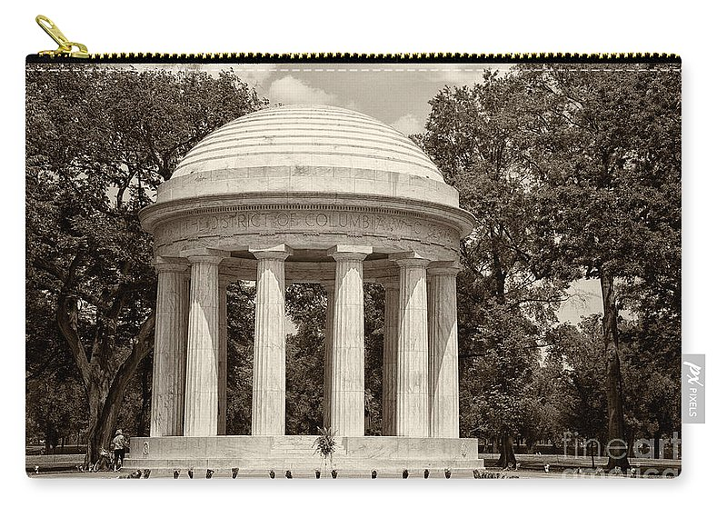 District Of Columbia War Memorial Carry-all Pouch featuring the digital art District Of Columbia War Memorial by Carol Ailles