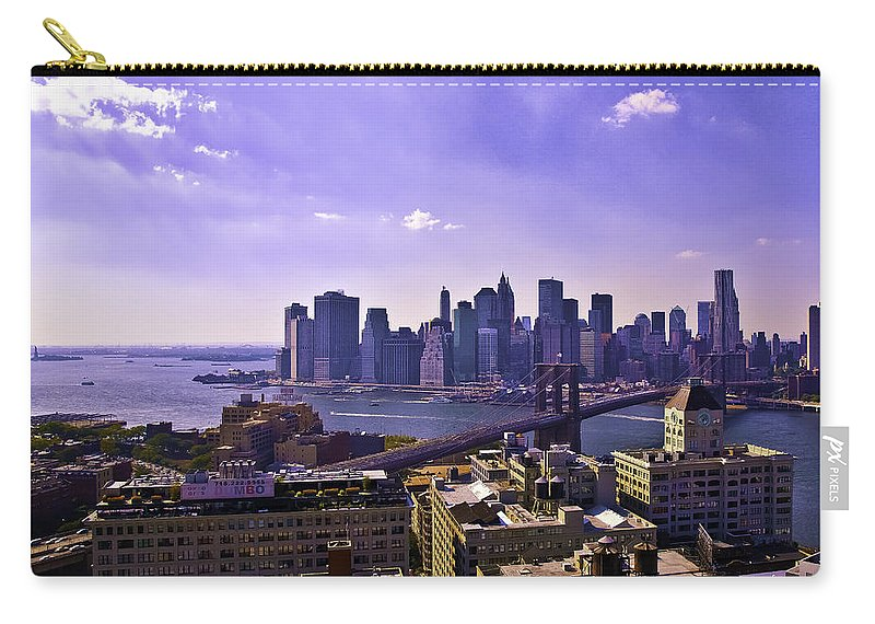 Dumbo Carry-all Pouch featuring the photograph Dumbo View Of Lower Manhattan by Madeline Ellis