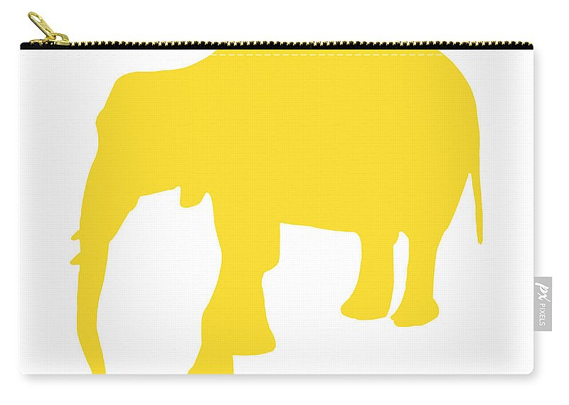 Graphic Art Carry-all Pouch featuring the digital art Elephant In Golden And White by Jackie Farnsworth
