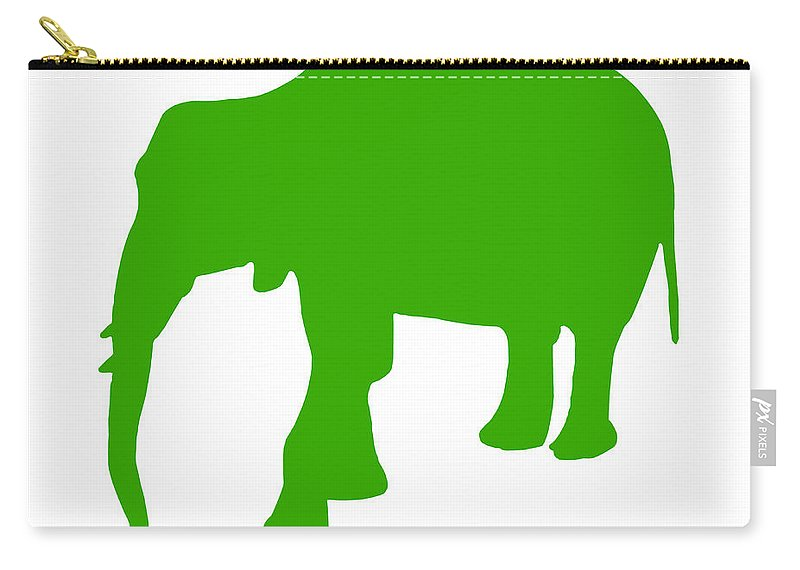 Graphic Art Carry-all Pouch featuring the digital art Elephant In Green And White by Jackie Farnsworth
