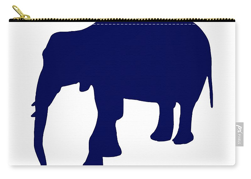 Graphic Art Carry-all Pouch featuring the digital art Elephant In Navy And White by Jackie Farnsworth