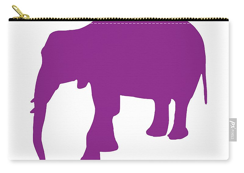 Graphic Art Carry-all Pouch featuring the digital art Elephant In Purple And White by Jackie Farnsworth