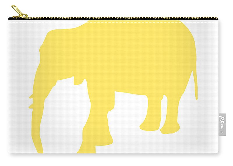 Graphic Art Carry-all Pouch featuring the digital art Elephant In Yellow And White by Jackie Farnsworth