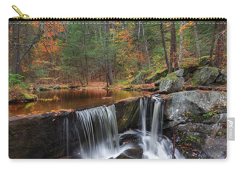Autumn Waterfall Carry-all Pouch featuring the photograph Enders Falls by Bill Wakeley
