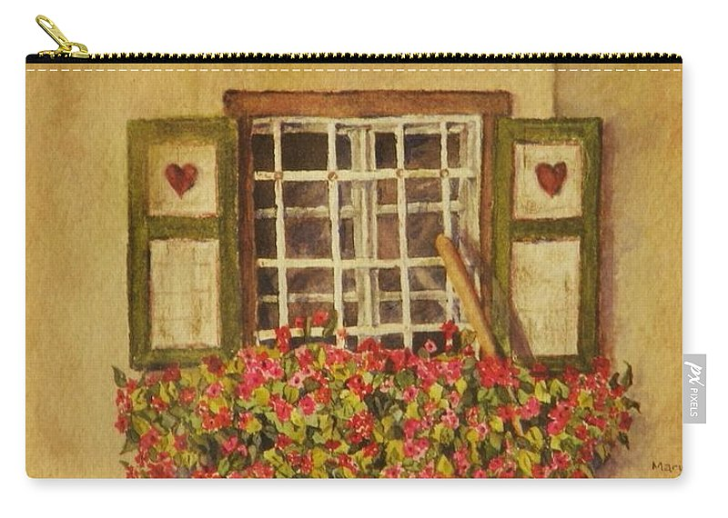 Rural Carry-all Pouch featuring the painting Farm Window by Mary Ellen Mueller Legault