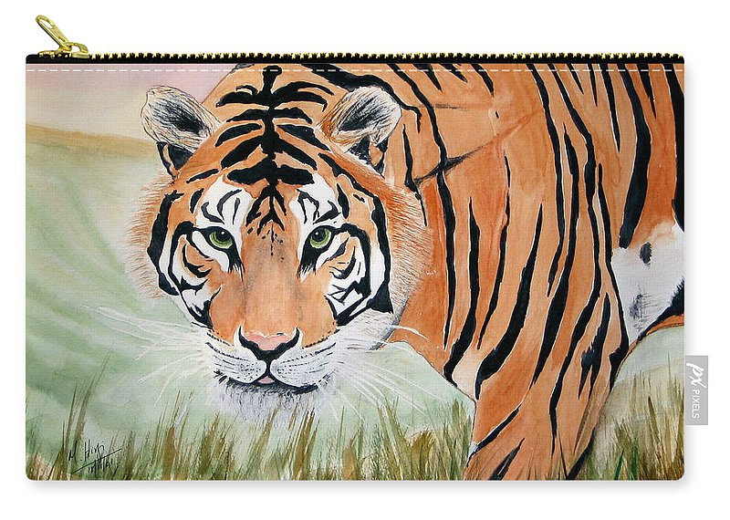 Animal Carry-all Pouch featuring the painting Ferocious by Mohamed Hirji