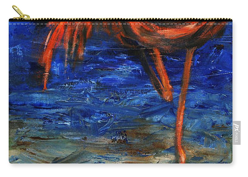 Flamingos Carry-all Pouch featuring the painting Flamingo by Xueling Zou