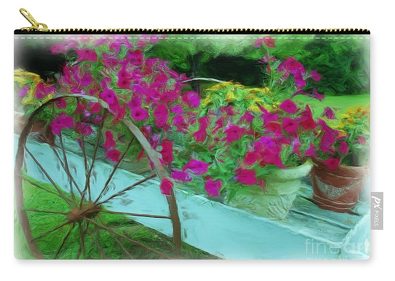 Digital Painting Carry-all Pouch featuring the photograph Flower Pot 2 by Allen Beatty