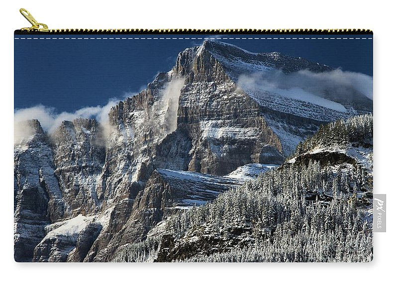 Glacier National Park Carry-all Pouch featuring the photograph Fog In The Valley by Adam Jewell