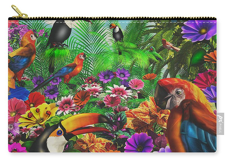 Art Licensing Carry-all Pouch featuring the mixed media Forest Friends by Caplyn Dor