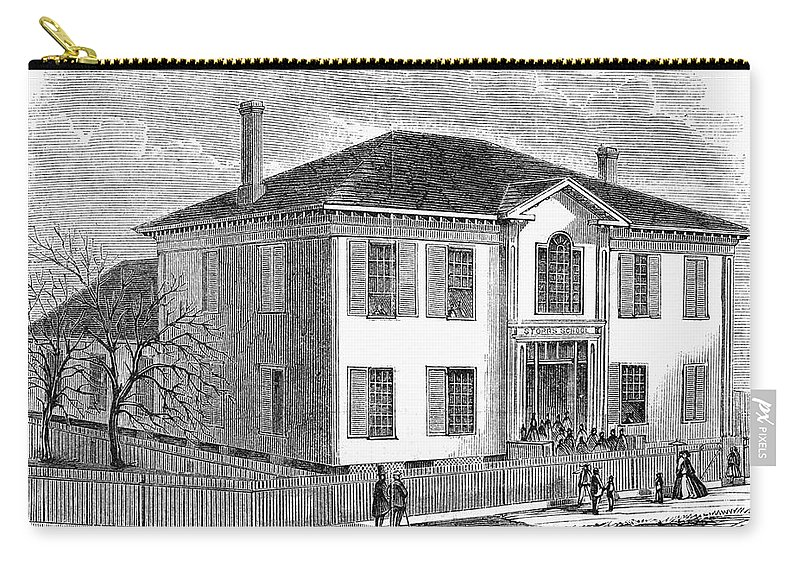 1867 Carry-all Pouch featuring the painting Freedmen School, 1867 by Granger
