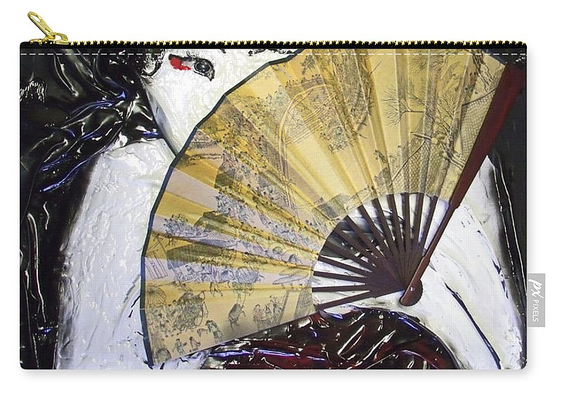 Sculpted Art Carry-all Pouch featuring the mixed media Geisha Girl by Angela Stout