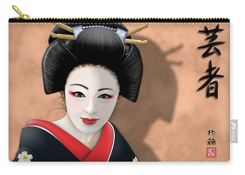 Geisha Art Carry-all Pouch featuring the digital art Geisha Girl by John Wills