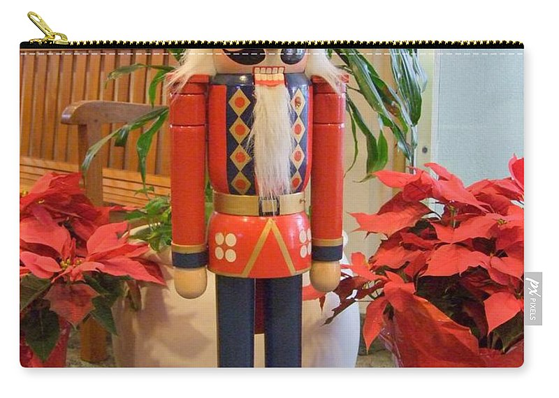German Carry-all Pouch featuring the photograph German Nutcracker - Frohe Weihnachten by Mary Deal