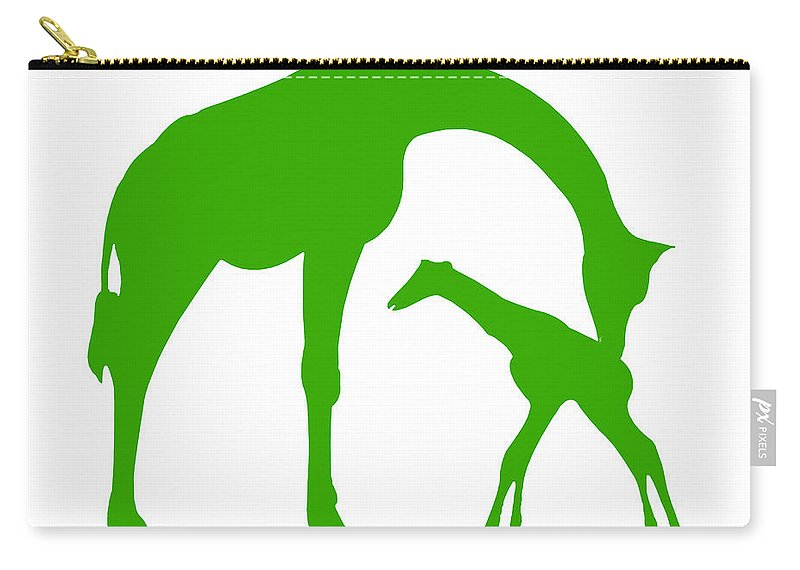Graphic Art Carry-all Pouch featuring the digital art Giraffe In Green And White by Jackie Farnsworth