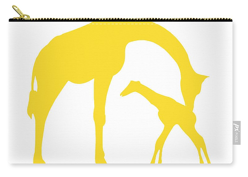 Graphic Art Carry-all Pouch featuring the digital art Giraffes In Golden And White by Jackie Farnsworth